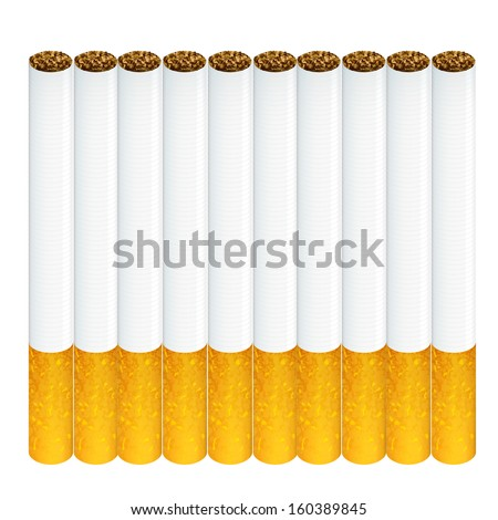 Group of cigarettes isolated over white background  - stock vector