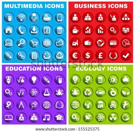 Group of Circular Icons. - stock vector