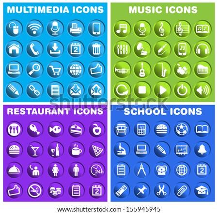 Group of Circular Icons 3. - stock vector