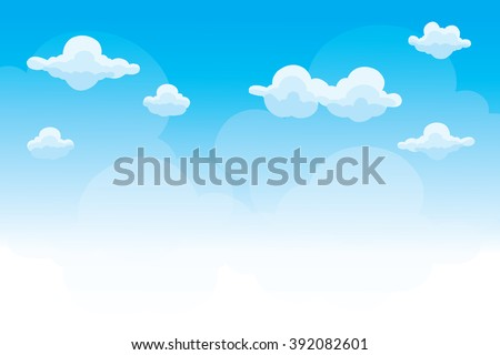 Group of clouds on blue sky, background of cartoon clouds, vector - stock vector