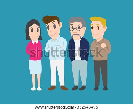 Group of colleagues, New Generation of Employee, Different nationalities and dress styles, Different Social Groups of People, Cute and simple flat cartoon style - stock vector