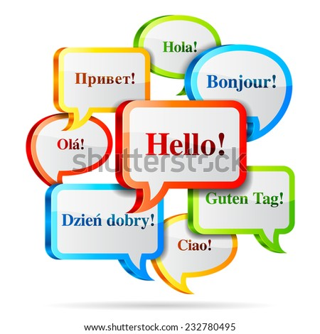 Group of color hello speech bubbles in different languages. - stock vector