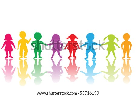 Group of colored children - stock vector