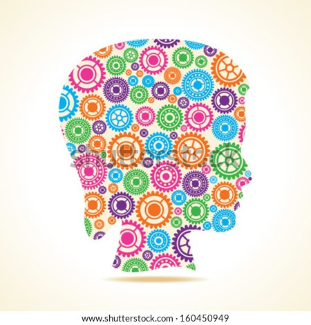 Group of colorful gears make a female face stock vector - stock vector