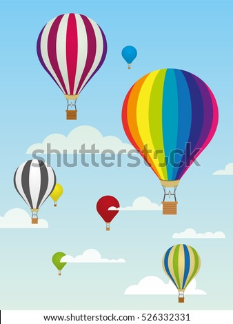 Group of colorful hot air balloons and clouds in the sky