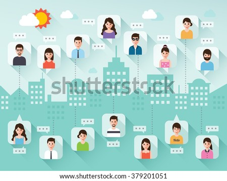 Group of connecting people via social network on city scene background. Flat design people characters. - stock vector