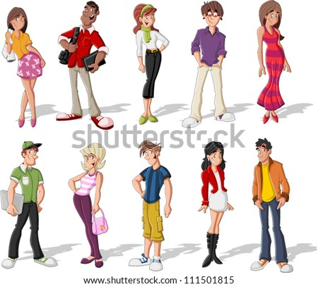 Group of cool cartoon young people. Teenagers. - stock vector