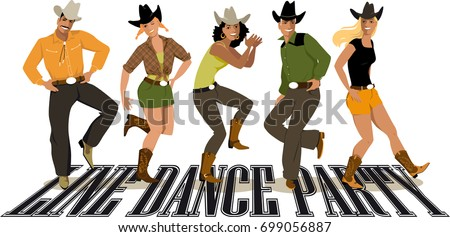 Group Cowboys Ans Cowgirls Western Country Stock Vector