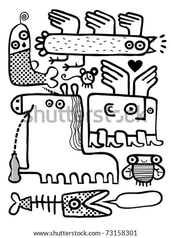 Group of creatures - stock vector