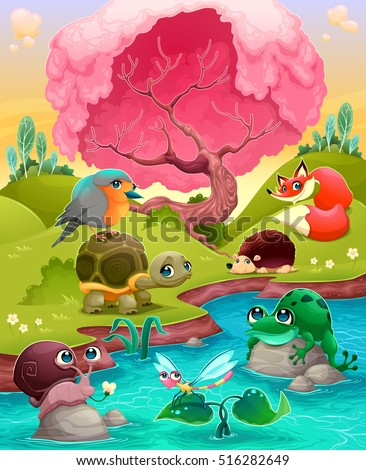 Group of cute animals in the countryside. Vector cartoon illustration
