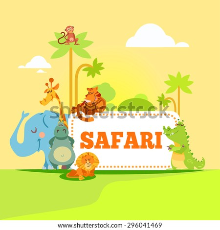 Group of cute cartoon african animals standing in front of safari signboard. Vector illustration
