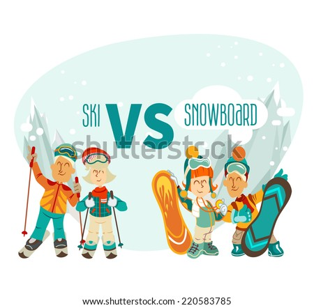 Group of cute cartoon skiers and snowboarders on mountains background.Skiers vs snowboarders. Vector illustration - stock vector
