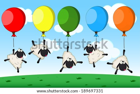 Group of cute cartoon vector sheeps flying on balloons - stock vector