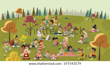 Group of cute happy cartoon people in the park - stock vector