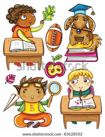 Group of cute, little schoolchildren. Isolated on white background. African boy, sitting at the desk, Very smart dog sitting on books, Funny Hispanic boy , Blond boy sitting at the desk, - stock vector