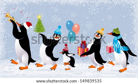 Group of cute penguins in caps walking with christmas gifts - stock vector