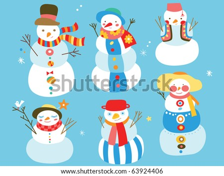 Group of cute snowmen with fun colors and details. - stock vector