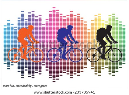 Group of cyclist in the bicycle race with equalizer background - stock vector