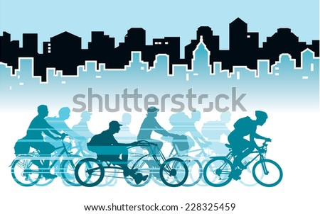 Group of cyclist in the city, sport illustration. - stock vector