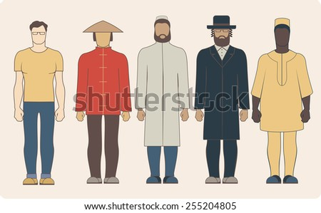 Group of different nationalities men wearing traditional clothes - stock vector