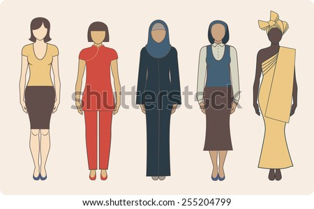 Group of different nationalities women wearing traditional clothes - stock vector