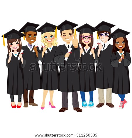 Group of diverse and successful graduating students together with black gown on white background - stock vector