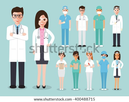 Group of doctors and nurses and medical staff people. Medical team concept in flat design people character set. - stock vector