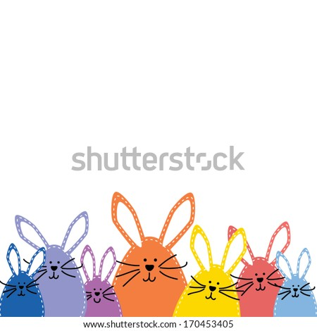Group of Easter bunnies, in spring colors on white background - stock vector