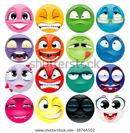 Group of expression. Funny vector and cartoon elements. - stock vector