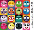 Group of expression with background. Funny vector and cartoon elements. - stock vector