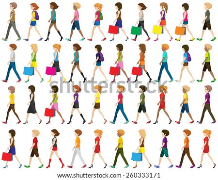 Group of faceless people walking on a white background - stock vector