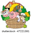 Group of farm animals - vector illustration. - stock vector