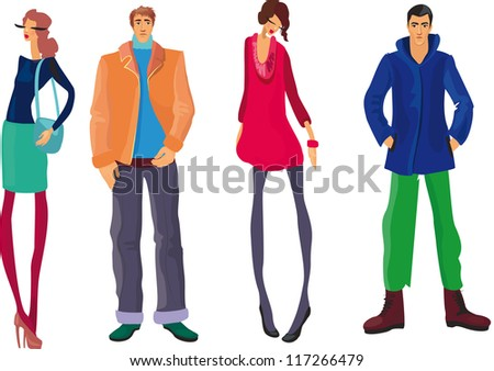 Group of fashion cartoon young people - stock vector