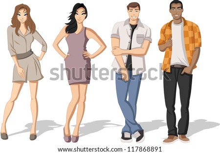 Group of fashion cartoon young people. Teenagers. - stock vector