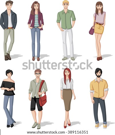 Group cartoon young people stock vector 595145051 Different fashion style groups