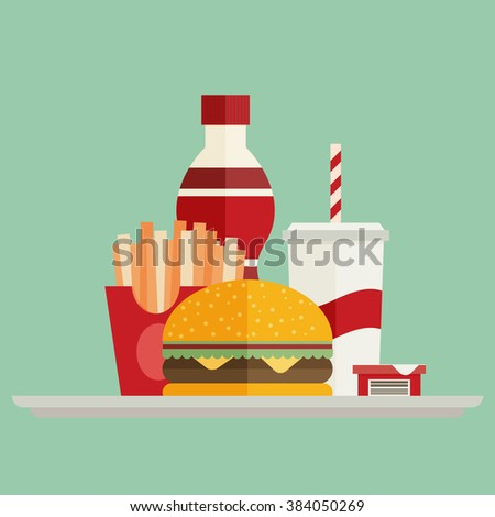 Group of fast food products. Flat vector - stock vector
