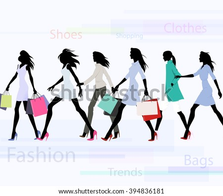 Group of female models dresses in fashion clothes with shopping bags - stock vector