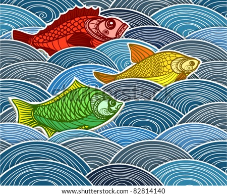 Group of fish on waves