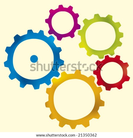 Group of five gears (vector) in different colors