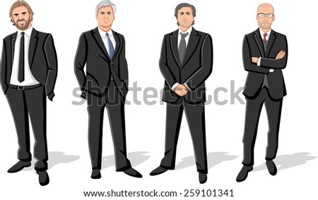 Group of four businessmen wearing suits  - stock vector