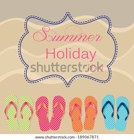 Group of four flip flops or sandals on sandy beach background, frame for text, vector format