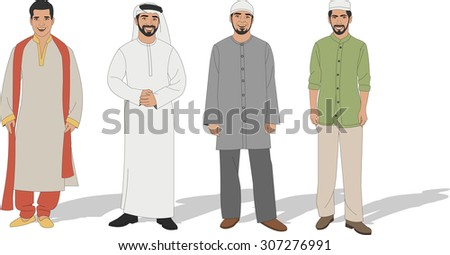 Group of four Muslim men - stock vector