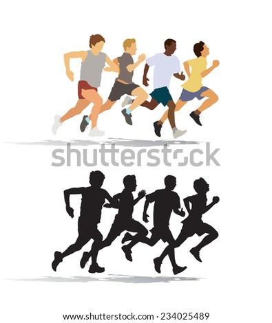 Group of four young man running in the race - stock vector