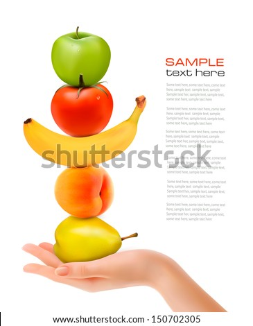 Group of fresh fruit with hand. Dieting concept. Vector.  - stock vector