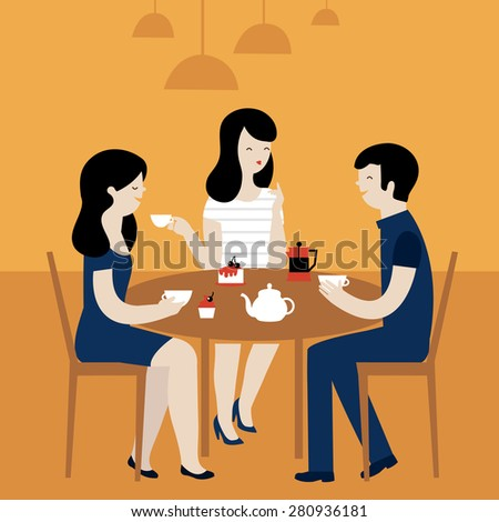 Group Of Friends in Cafe - Isolated On Yellow Background - Vector Illustration. People sitting at table at lunch - stock vector