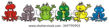 group of frogs - stock vector
