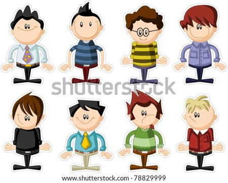 Group of funny cartoon people - stock vector
