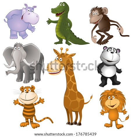 Group of funny little animals. vector illustration - stock vector