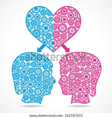 Group of gears make a male and female face with heart stock vector  - stock vector
