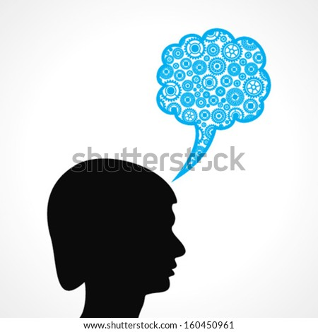 Group of gears make a speech bubble with male face stock vector